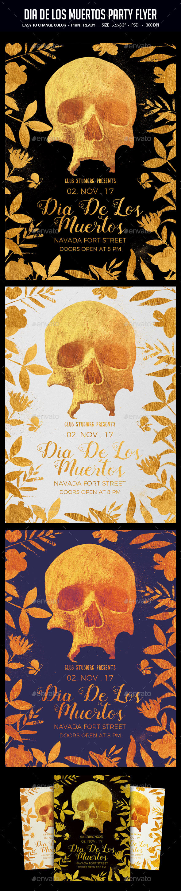 GraphicRiver Dia De Los Muertos Party Flyer 20711059