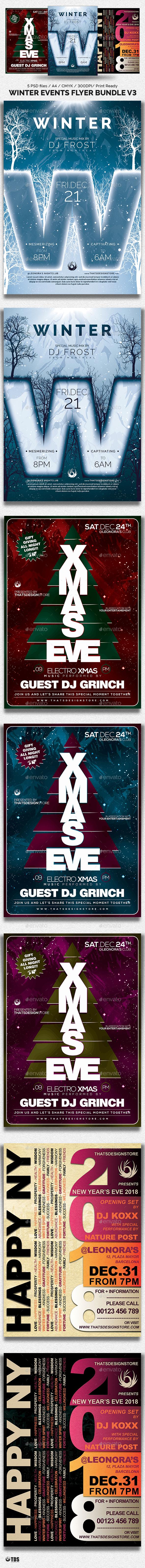 Winter Events Flyer Bundle V3 - Holidays Events