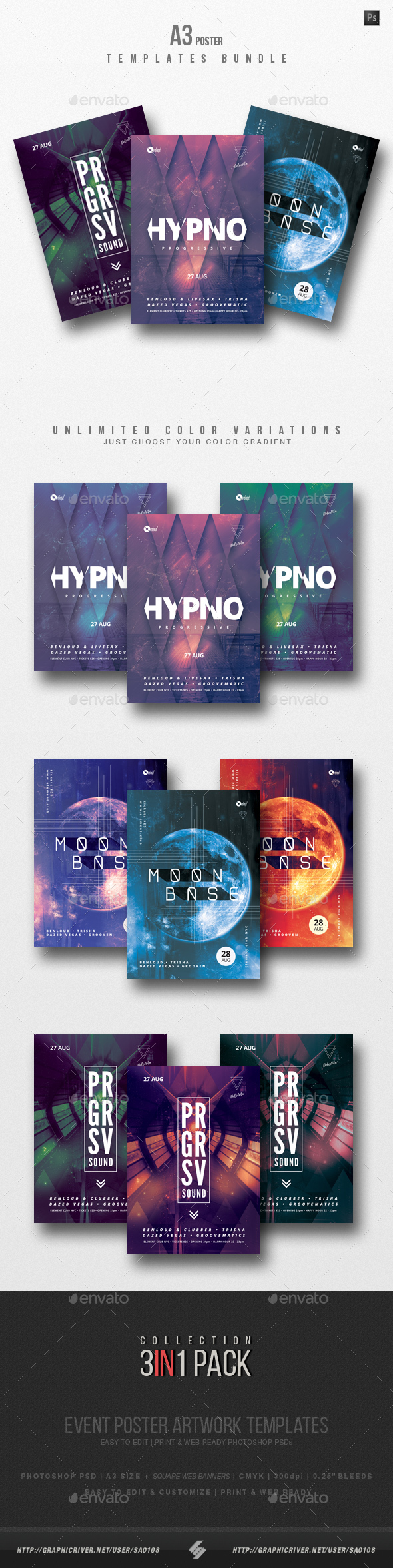 Progressive Sound vol.7 - Party Flyer / Poster Templates Bundle - Clubs & Parties Events