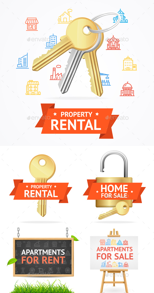 GraphicRiver Realistic Detailed Real Estate Signs Set 20711450