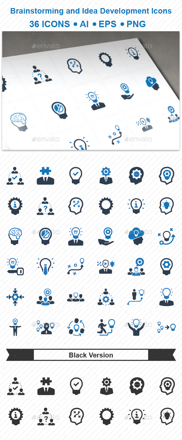 GraphicRiver Brainstorming and Idea Development Icons 20711460