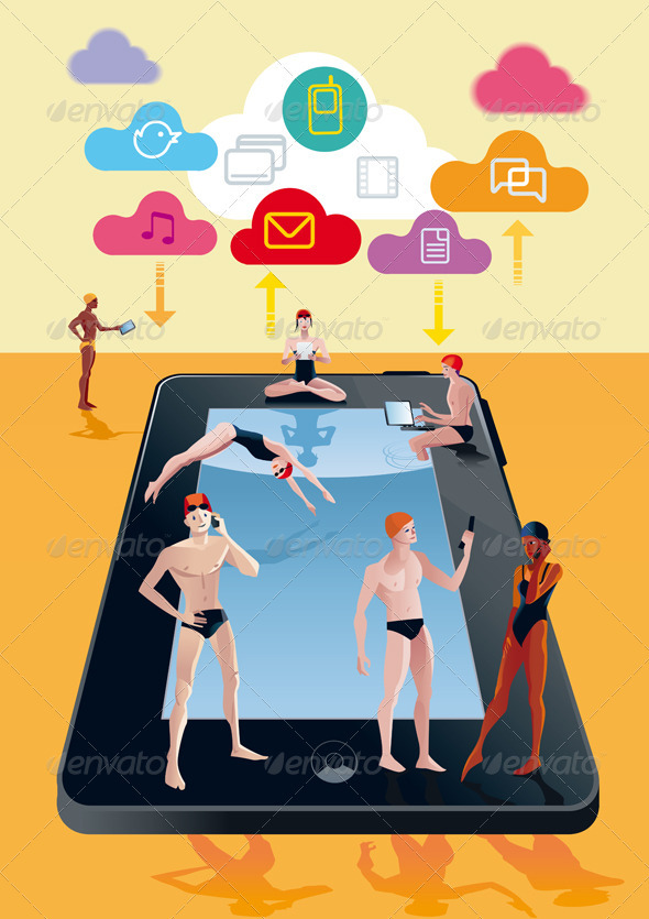 Digital Tablet As Swimming Pool Orange - Technology Conceptual