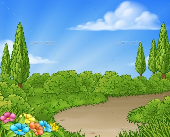 Cartoon Country Lane Park or Garden Background by Krisdog | GraphicRiver