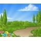 Cartoon Country Lane Park or Garden Background