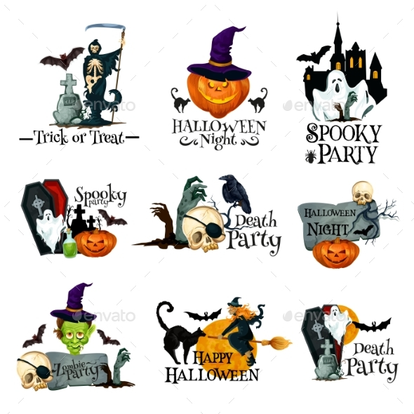 Halloween Holiday Symbol of Pumpkin, Ghost and Bat - Halloween Seasons/Holidays