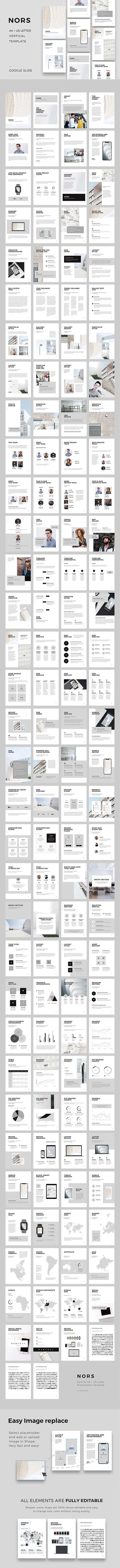 NORS Vertical Google Slides A4 US Letter Template - Google Slides Presentation Templates