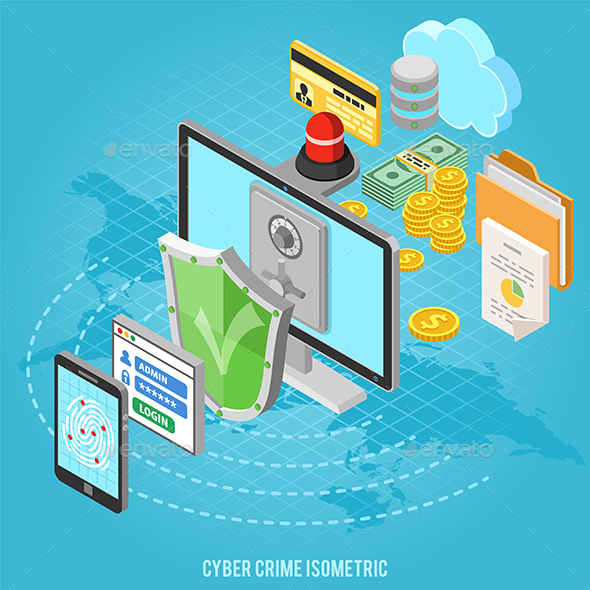 Cyber Crime Isometric Concept - Computers Technology