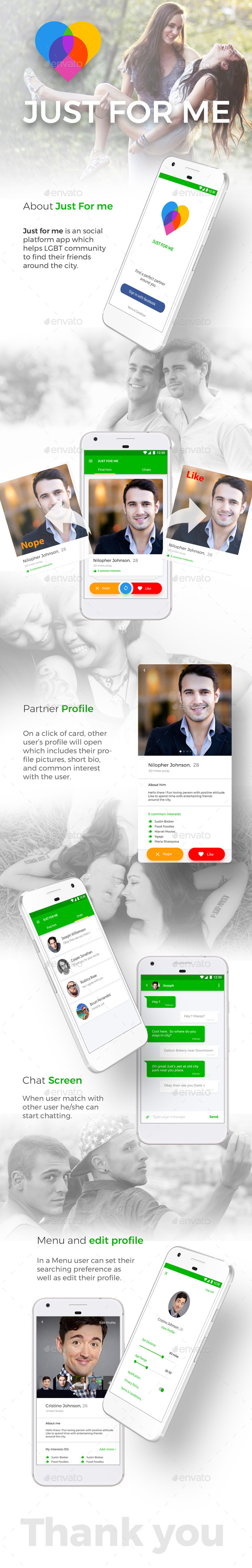 GraphicRiver Android & iOS Dating App UI Kit Just For Me 20712407