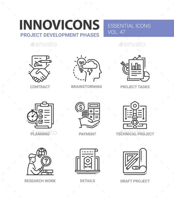 Project Development Phases - Modern Vector Line - Business Icons