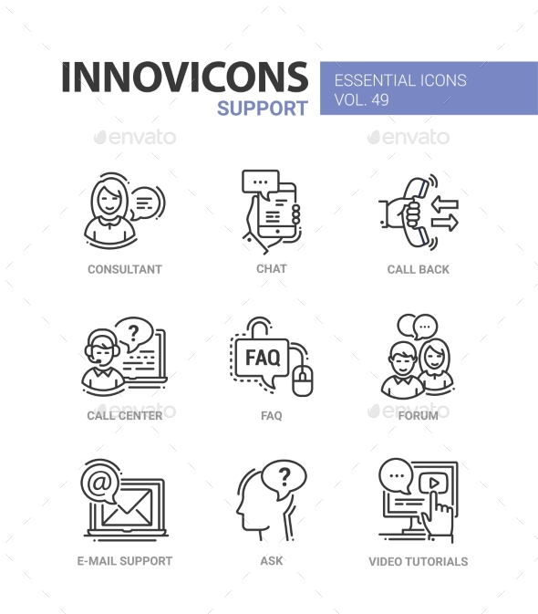 Technical Support - Modern Vector Line Design - Business Icons