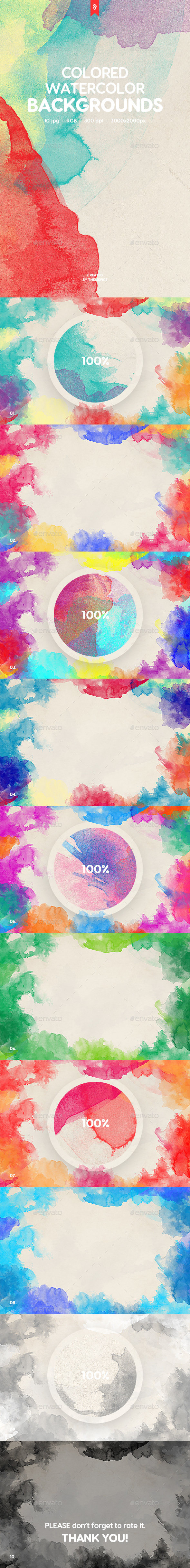 Colored Watercolor Backgrounds - Abstract Backgrounds