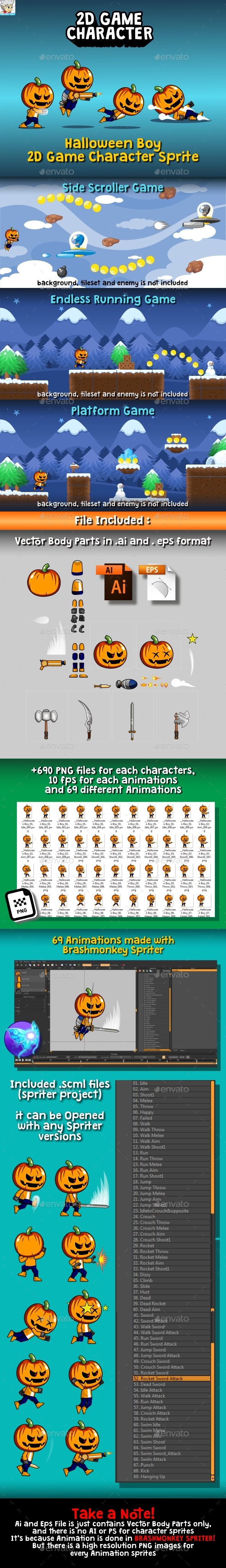 GraphicRiver Halloween Boy 2D Game Character Sprite 20712773
