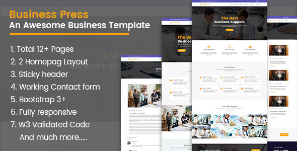 Image of BusinessPress HTML5 Teamplate
