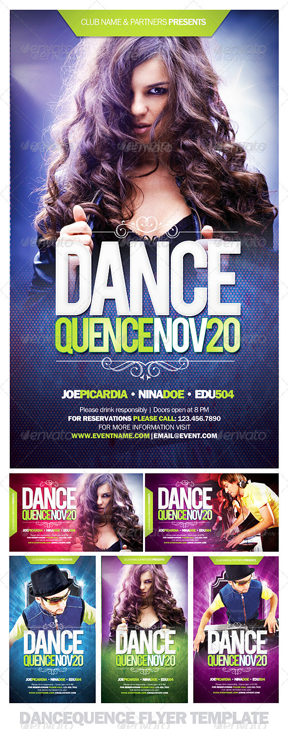 Dancequence Flyer Template - Clubs & Parties Events