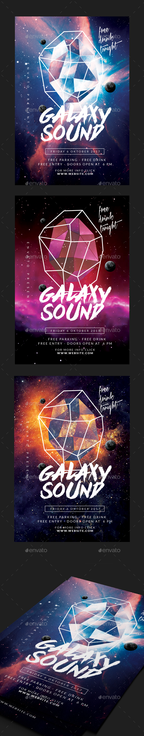 GraphicRiver Space Sound Party Flyer 20713384