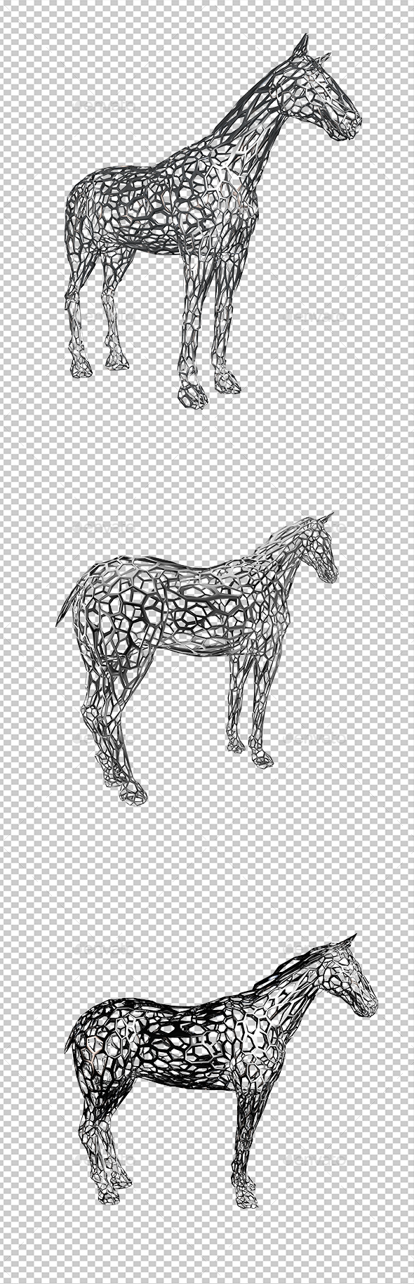 Cellular Horse - Objects 3D Renders