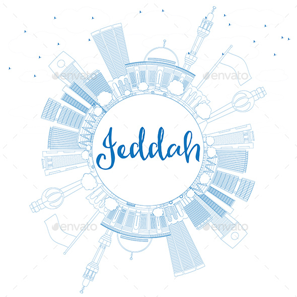 Outline Jeddah Skyline with Blue Buildings and Copy Space - Buildings Objects