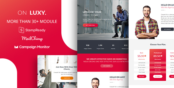 On Luxy - Responsive Email Newsletter Template 30+ Sections