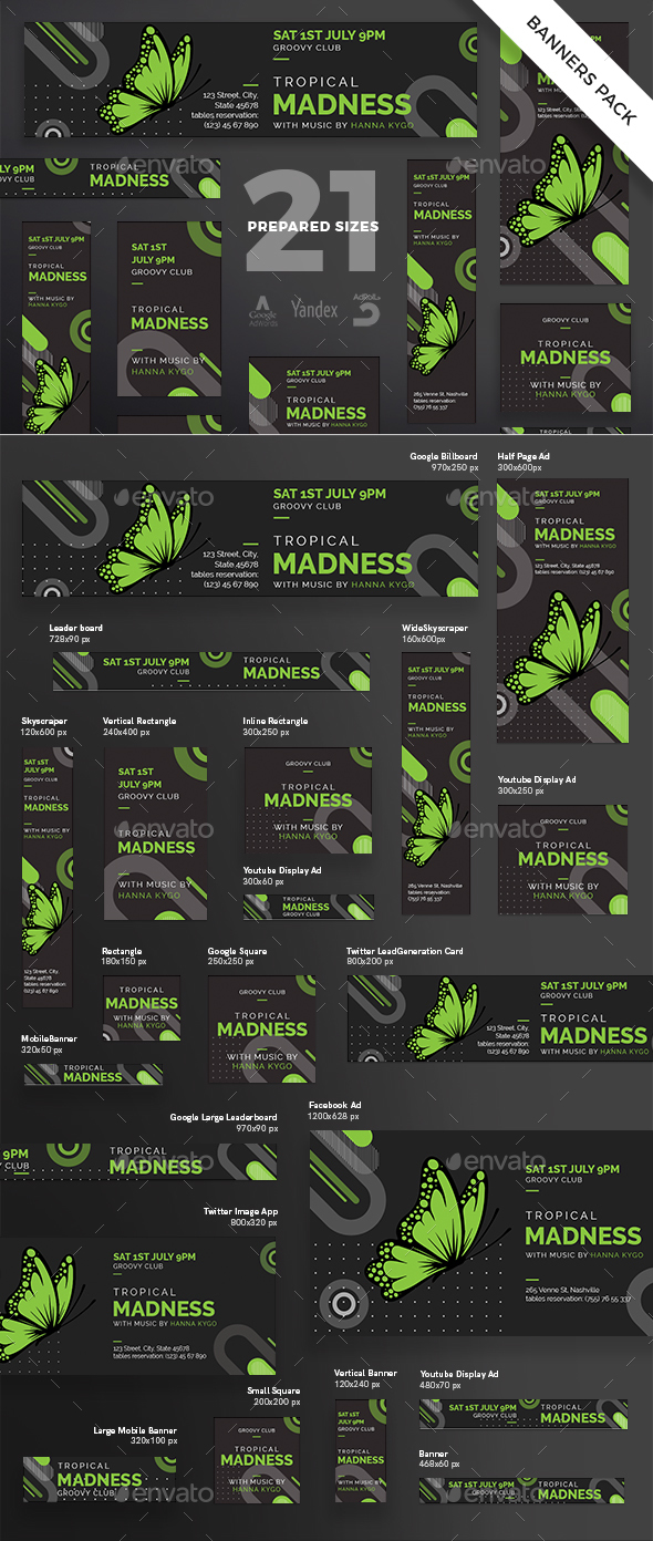 Tropical Madness Banner Pack - Banners & Ads Web Elements