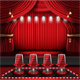 Red Stage Curtain with Spotlights and Four Chairs.