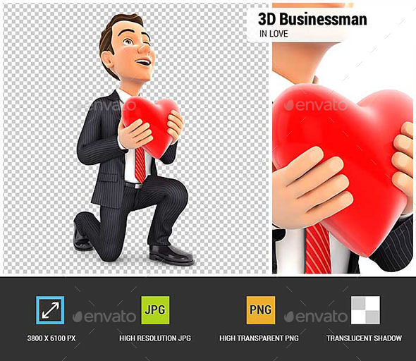 3D Businessman in Love With One Knee to the Floor - Characters 3D Renders