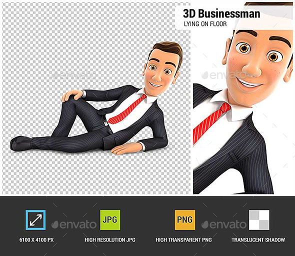 GraphicRiver 3D Businessman is Lying on the Floor 20714888