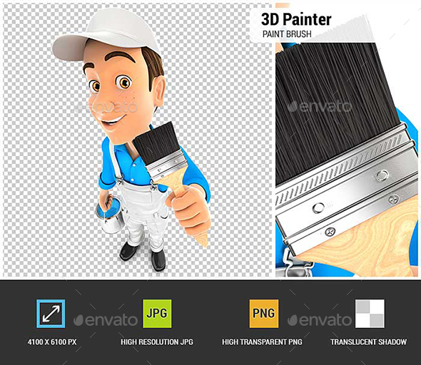 GraphicRiver 3D Painter Holding Paint Brush 20714897