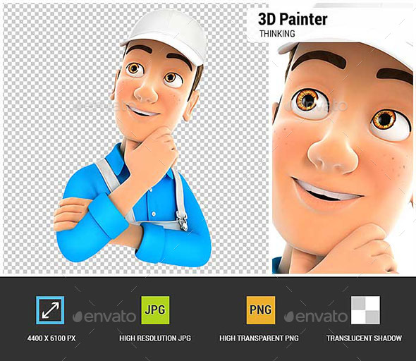 3D Painter Thinking - Characters 3D Renders