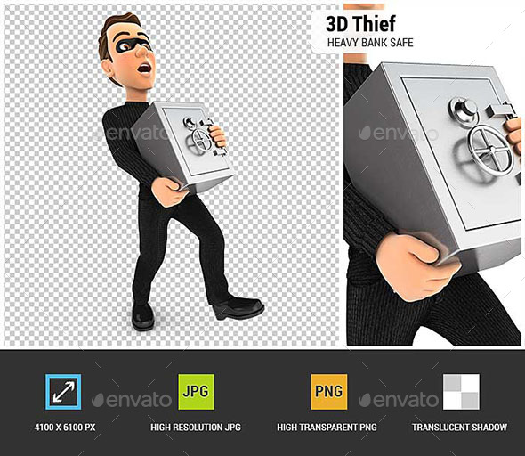 GraphicRiver 3D Thief Holding Heavy Bank Safe 20714917