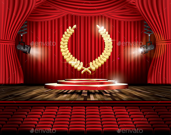 Red Stage Curtain with Spotlights - Miscellaneous Vectors