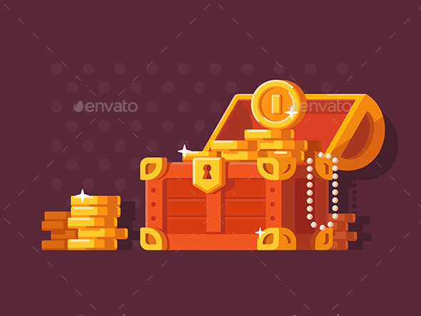 GraphicRiver Wooden Chest with Golden Coins 20714938