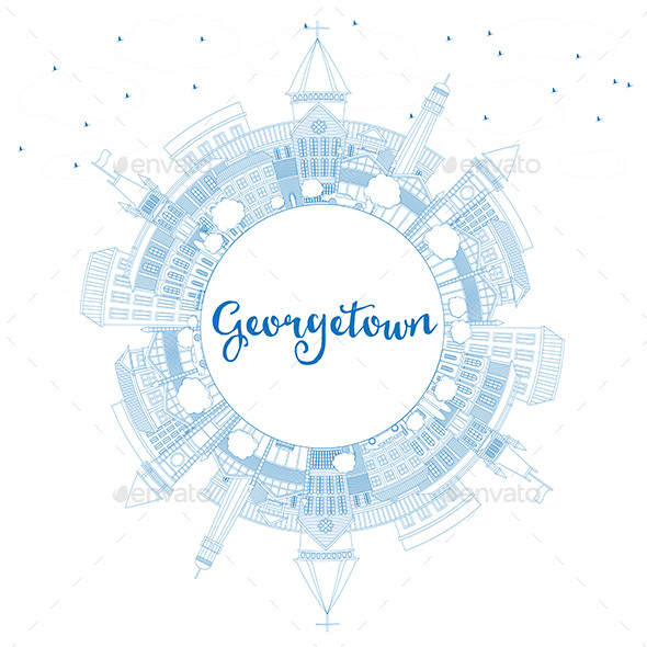 Outline Georgetown Skyline with Blue Buildings and Copy Space - Buildings Objects