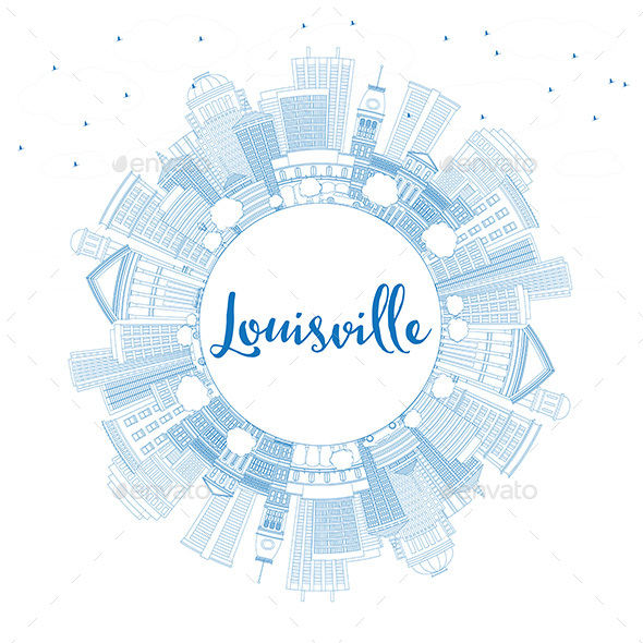 Outline Louisville Skyline with Blue Buildings and Copy Space - Buildings Objects
