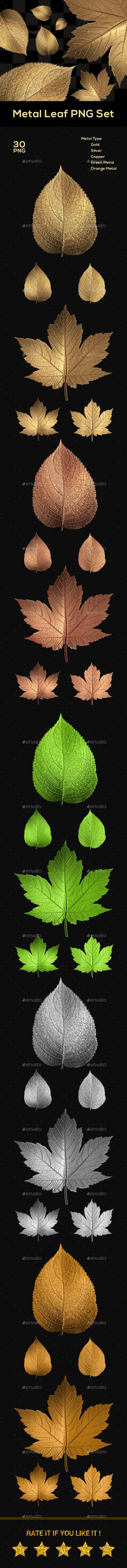 GraphicRiver Metal Leaf PNG Set 20715338
