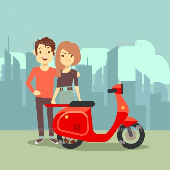 Cartoon Young Lovers and Bike on City - People Characters