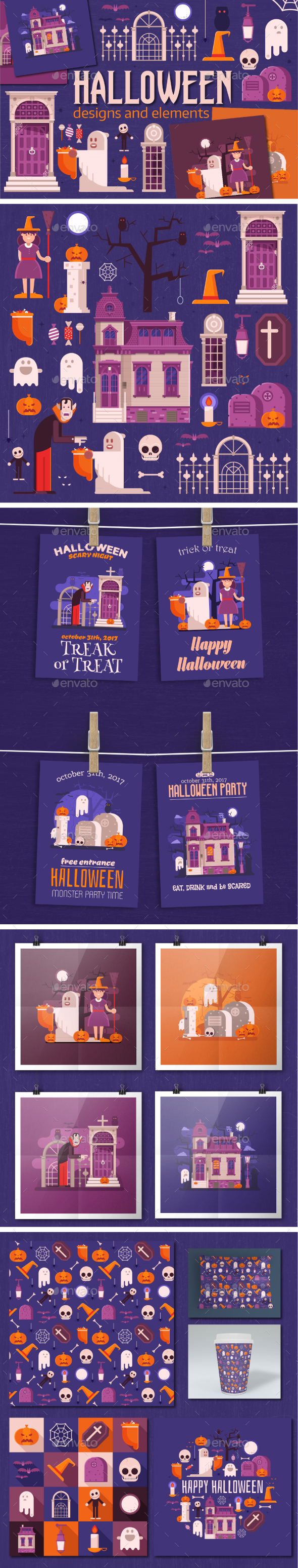 Halloween Designs and Elements Set - Halloween Seasons/Holidays