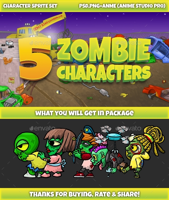 5 Zombies Pack №1 - Sprites Game Assets