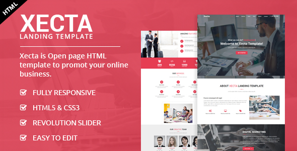 Xecta - One Page Landing HTML Template by ecreativesol