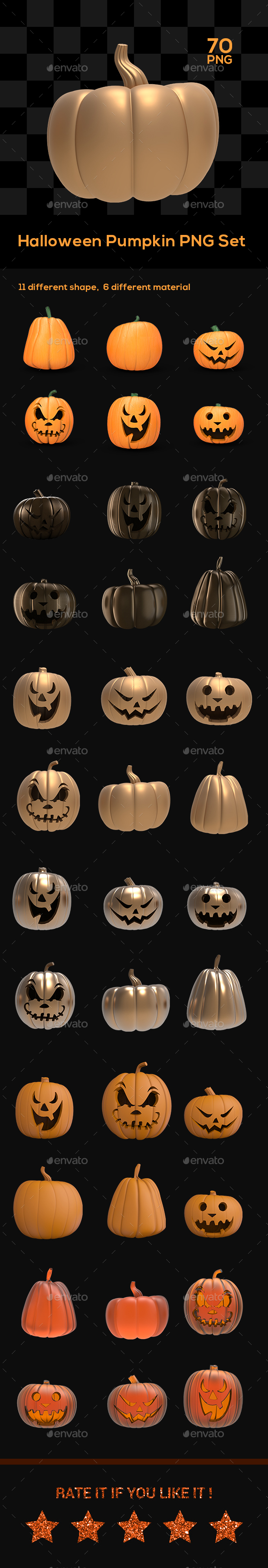 Halloween Pumpkin PNG Set - Objects 3D Renders