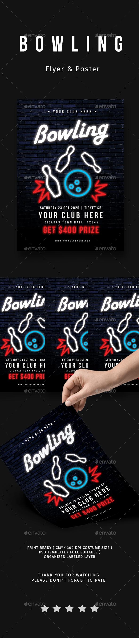 Bowling Tournament Flyer - Flyers Print Templates