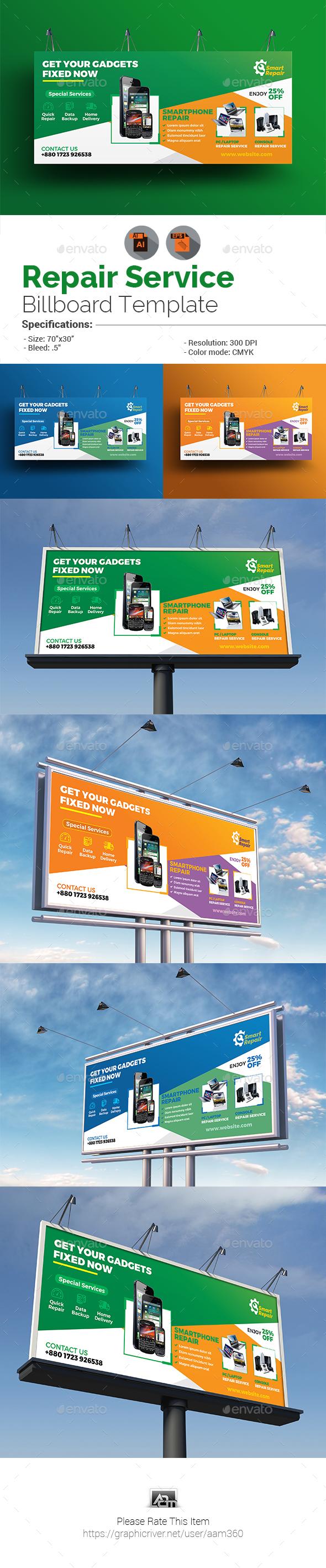 Repair Service Billboard Template - Signage Print Templates