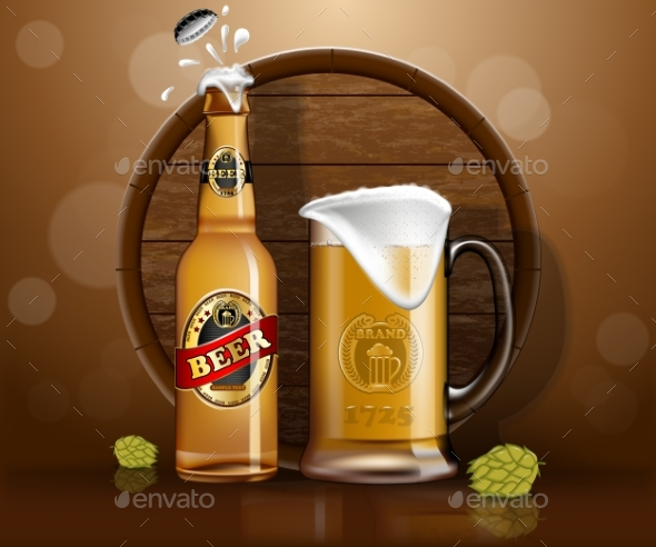 GraphicRiver Beer Bottle and Mug with Wooden Barrel 20715902