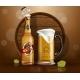 Beer Bottle and Mug with Wooden Barrel