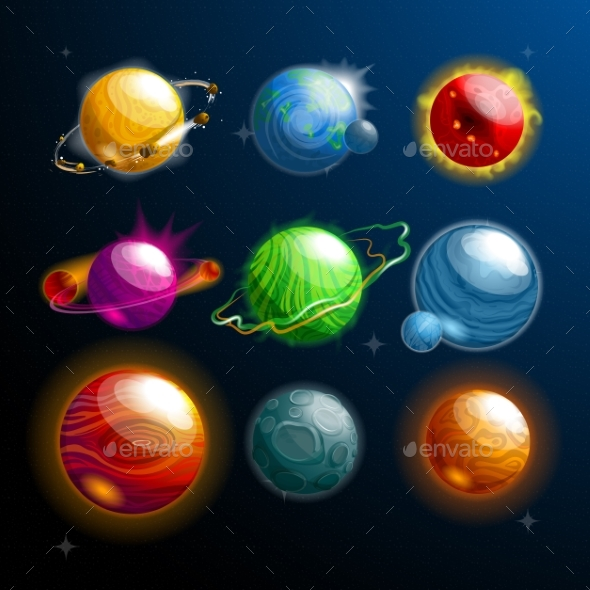 Set of Isolated Planets or Stars - Miscellaneous Vectors