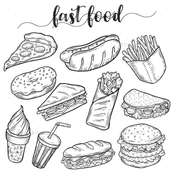 Fast Or Unhealthy Junk Food Sketches By Cookamoto | GraphicRiver