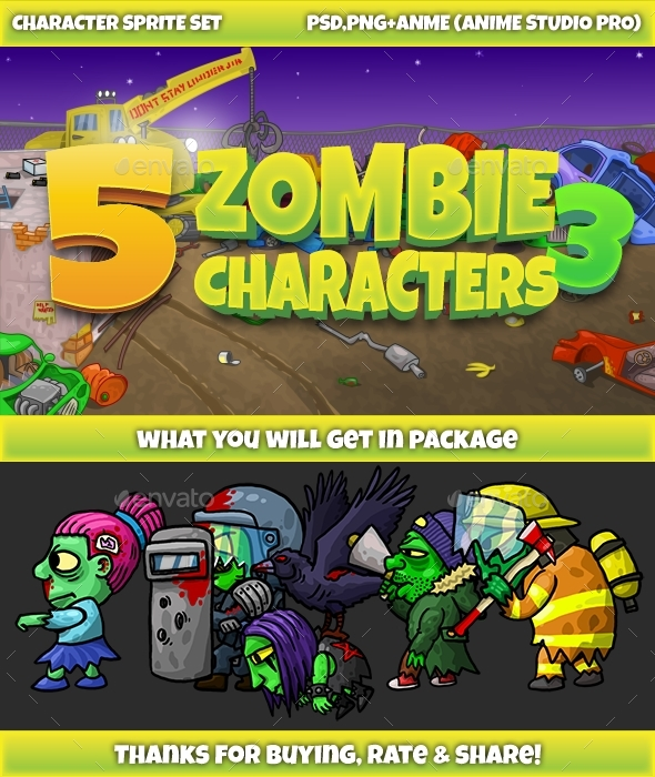 5 Zombies Pack №3 - Sprites Game Assets