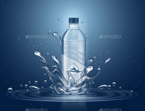 Water Bottle with Splashes - Food Objects