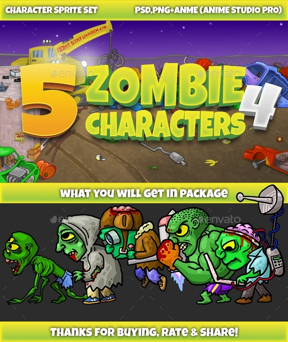 5 Zombies Pack №4 - Sprites Game Assets