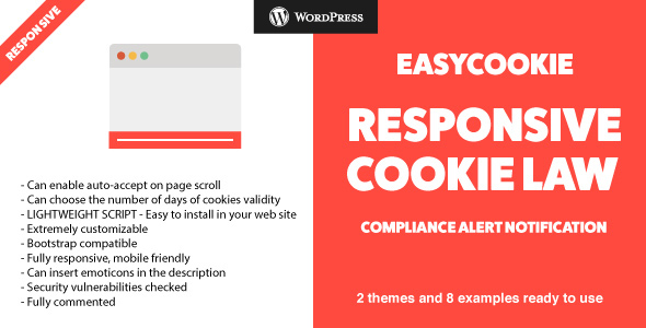 EasyCookie WordPress Plugin - GDPR Responsive Cookie Law Compliance Alert Notification - CodeCanyon Item for Sale