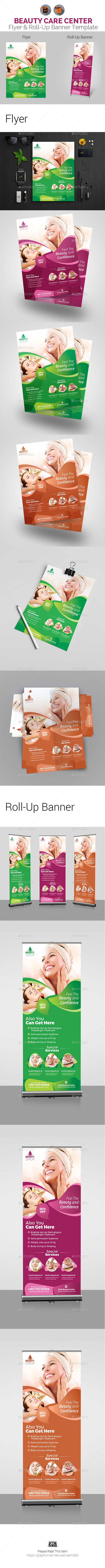 Beauty Care Flyer & Roll-Up Bundle Template - Print Templates